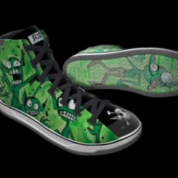 Jared von Hindman of headinjurytheater.com was the winner of the Dungeons and Dragons sneaker design competition. Check out the detail! Stomp stomp stomp those goblins!
