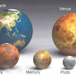 Size comparisons of various planets and suns.  Fun just because they are balls sitting on the floor.