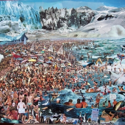 Amazing Collages made from thousands of cut out photos by artist Adrian Kenyon representing the crazy world we live in.