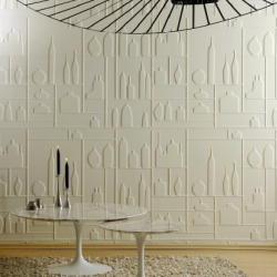Thermoformed wallpaper with 3D effect by Elitis.