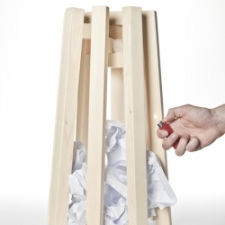 'Corbeille' by French designer Amaury Poudray is a bin for papers that you can reverse outside and burn when it's full.