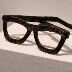 I love these bizarre cartoon-wood glasses, and other twisted creations, by artist Dell Stewart!