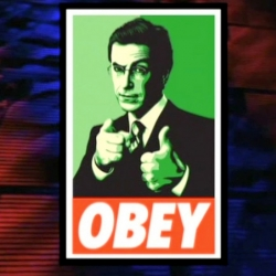 Colbert Report Clip: Shepard Fairey talks with Stephen Colbert about how his political Obama works became the official imagery for the President elect in this video.