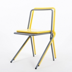 'Donald' is a stackable chair made of bended and entangled steel tubes by Benoit Deneufbourg.