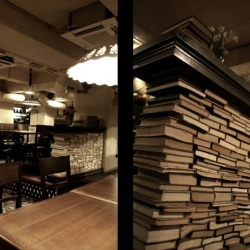 Mishi Blyahera, a cafe in Dnepropetrovsk, Ukraine made by studio belenko. Different parts of furniture made of books.