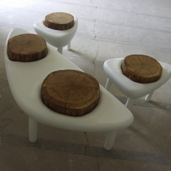 'Cratere' garden furniture is made from polyester resin and oak, by designer duo Binôme-Jardin.