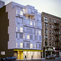 See how the first prefabricated residential building in New York is being built.