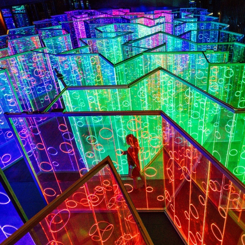 immersive light maze at Luneng Sanya Light + Art Festival, designed by Brut Deluxe