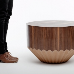 'Wryneck' table by Léa Padovani & Sébastien Kieffer, the POOL design duo. This small coffee table seems to have been eaten by a beaver.