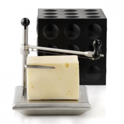 Nuance Cheese Cube! It slices the cheese and keeps it cold on the table. The black Cube holds your sliced cheese for storage in the refrigerator.