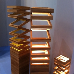 'Up' outdoor or indoor light is made of teak wood and designed by Nakarin Kemseela.