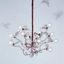 Amazing ' Birdie ' chandelier by Ingo Maurer.  Adjustable aluminum with wings made of real goose feathers.