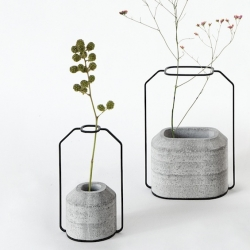 'Weight' vases in polished concrete and metal by Thinkk Studio for Specimen Editions.