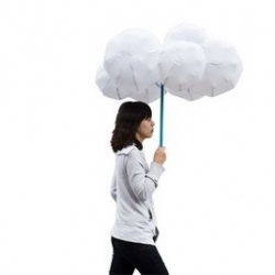 The Cloud Umbrella by Dutch designer Joonsoo Kim. Carried around as a stick, then inflated when it starts to rain!