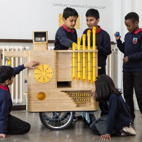 The Make:Good Curiosity Cart is made from 35 layers of 12mm and 24mm plywood and provides exploratory and sensory play, alongside storage. Commissioned by Bow Arts and created for Lansbury Lawrence Primary School in East London.