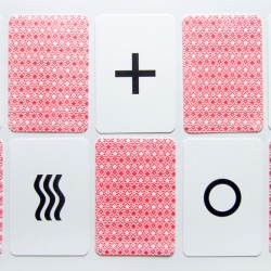 Gotta love these handprinted Zener cards by Steed Griffin. Is there anything the gocco press can't do?