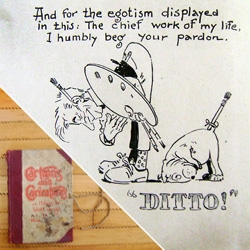 "A rare book indeed! World Famous Design Junkies explores the book ""Cartoons and Caricatures or Making the World Laugh"", written and illustrated in the 20 years leading up to 1910 by illustrator Eugene Zimmerman AKA ""Zim!"" (Complete with tie strap!)"