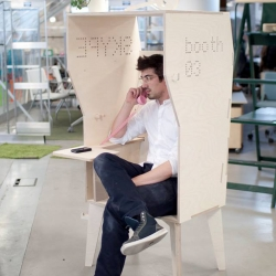 London based open source furniture designers, OpenDesk release their new CNC cut Wiki Booth designed as a hybrid telephone and solo-working booth for open plan offices.