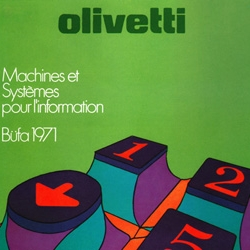 Delicious 1970s illustrated advertising posters and more for Olivetti typewriters in Italy.