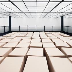 Suspended Cardboard Boxes Installation by Zimoun & Hannes Zweifel at Mannheimer Kunstverein.