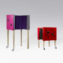 Milonga, piece of furniture that can be extended through a concertina system thanks to the bellow that is used as a container. Designed by Lulghennet Teklè.