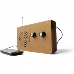 Sporting the look of a home made device, the most recent collaboration between SUCK UK and designer Christopher McNicholl brings us a Cardboard radio, perfect for the environmentally savvy listener.
