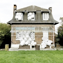 Balloon Invasions by Charles Pétillonare metaphors. Their goal is to change the way in which we see the things we live alongside each day without really noticing them.