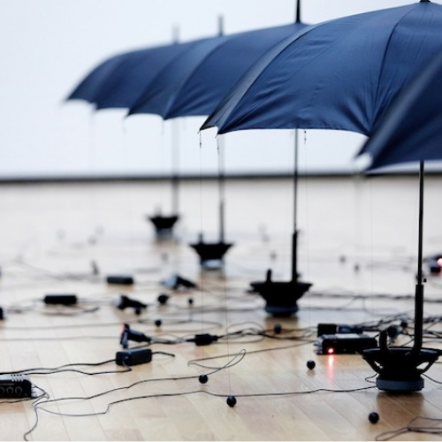 Japanese artist and designer Kouichi Okamoto, and founder of Kiouei Design, has created a sound installation, called Re-Rain, that proposes a way for the immaterial forces of sound, gravity, and magnetic force to find a physical form.