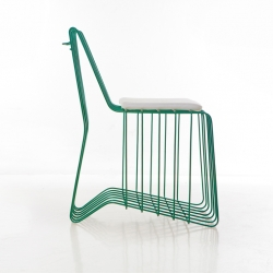 Cage Chair — Forged chair. Exterior and interior use; books, towels, magazines and so on, can be storage at the bottom.