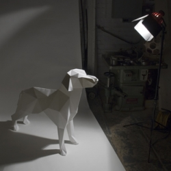 Turning the lazerian dog logo into a 3 dimensional paper dog.