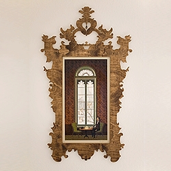 Ornate laser cut plywood wall frame. One of a kind, but accepting commissions for new pieces.