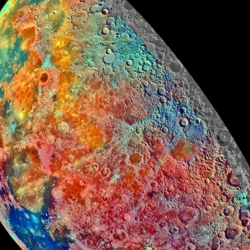 A beautiful rendering of the mineral content of the moon. The image is a compilation of 53 photographs taken in 1992 by the Jupiter-bound Galileo spacecraft.