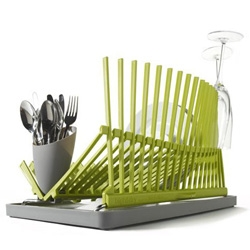 Black + Blum's new dish rack is cleverly designed with a wave of spikes to safely hold wineglasses. It folds flat when not in use too!