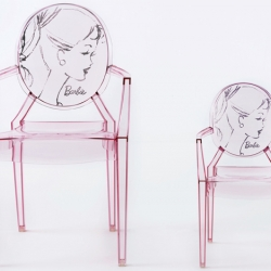 Kartell celebrates Barbie on her 50 th birthday by releasing a Barbie version of Louis Ghost chair.