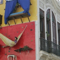 Two brothers have been living on the outside of a building, all in the name of art.