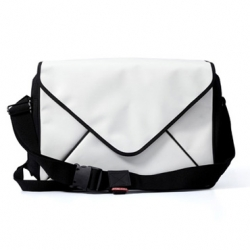 MESSAGE messenger bag is created with models on two sides; it has a computer pattern on one side, and an envelope pattern on the other side.