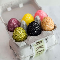 Rice Krispie and marshmallow Easter eggs from Bouchon Bakery, with a recipe to make them at home, too. Peanut butter, strawberry, and chocolate flavors...