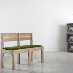 When was the last time you got to sit on fresh grass? The MOW Chair is an indoor two-seater with grass as a cushion! Designed by Lebanese architect, Fadi Sarieddine.