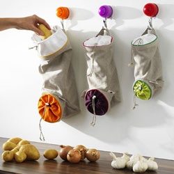 Brilliant, inexpensive design for potato, onion, and garlic storage from Orka.