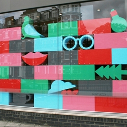 Multicolored window installation by Ryan Todd