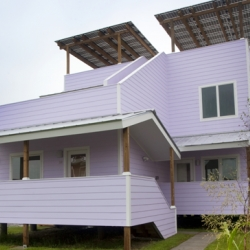 Frank Gehry Conjures a Pastel Duplex in New Orleans's 9th Ward.