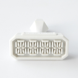 """DIGIT eraser stamp"" is both an eraser and a stamp. On the surface are preset 4 digits and the stamp frame. Simply keep the mirrored image of your desired letters and then carve away the unwanted strokes."