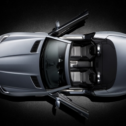 The new 2012 Mercedes SLK has just been unveiled featuring Magic Sky Control, which replaces the standard folding hardtop's metal panels with polarized glass panels. You can actually change the level of tint.