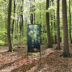 Pieter De Decker made this evolving treescape, recto-verso printed on plexiglass. The artwork shows a constantly changing view of the landscape behind (depending on weather conditions, the position of the sun and the time of day).
