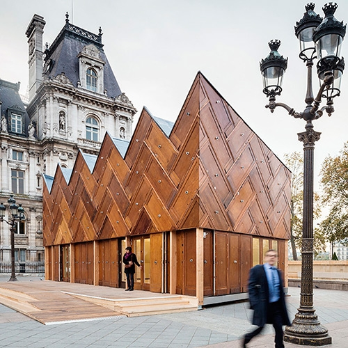 The Circular Pavilion by ENCORE HEUREUX architectes - an experimental architectural object that was built in Paris with reused construction materials.