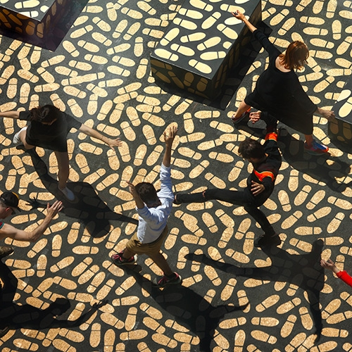DANCE FLOOR installation with more than 5,000 footprints by Jean Verville architect at Montreal Museum of Fine Arts.