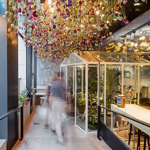 Based on the idea of 'your home away from home', the design of the 'Bellavista del Jardín del Norte' restaurant in Barcelona by El Equipo Creativo refers to the image of daily life and festive spirit of small villages in Spain.