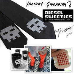 NOTCOT Holiday Giveaway #19: Diesel Sweeties is giving away two bundles ~ one pixel skull set (shot glasses, socks, tie!) and one pixel robot set (tote, socks, tie!)