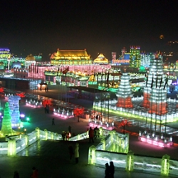 At the Harbin Ice & Snow World, everything is sculpted from ice. Neon lights add an epic light-bright surrealism to the festival.