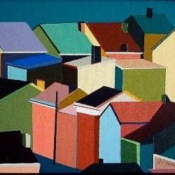 Architectural paintings by Macia Alscher.  How many roofs can you count?